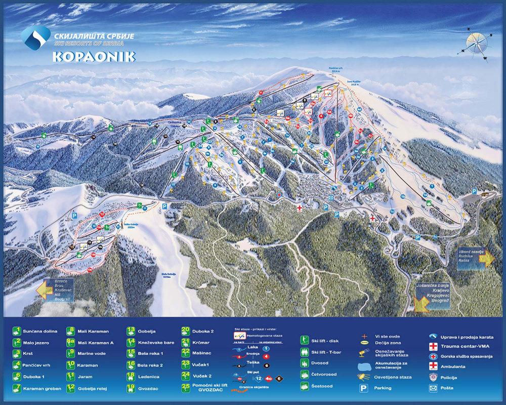 Карта курорта Копаоник