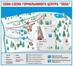 """План-схема горнолыжного центр """"Лоза"""""""